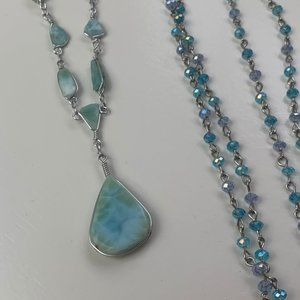 Vintage Blue Stone Beaded Necklaces Boho Hippie